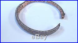 Sterling Silver Rose Gold Plated CUBIC ZIRCONIA Bangle Bracelet Was $520.00