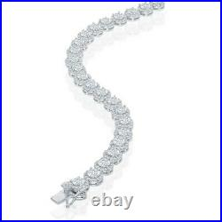 Sterling Silver Round Halo Cubic Zirconia Tennis Necklace