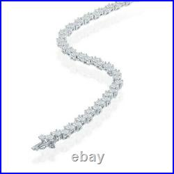 Sterling Silver Round Zig-Zag 4mm Cubic Zirconia Tennis Necklace