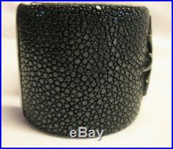 Sterling Silver Stingray Cuff Bracelet Pave Cubic Zirconia Starburst $825