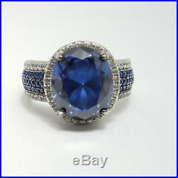 Sterling Silver Synthetic Blue Spinel With Cubic Zirconia Accents Ring Size 8