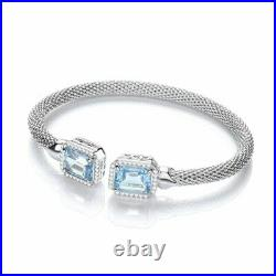 Sterling Silver Torque Bangle with BlueTopaz and Cubic Zirconias New