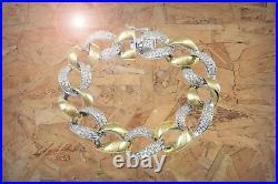 Sterling Silver Two-tone Finish Cubic Zirconia Open Link Bracelet