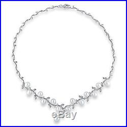 Sterling Silver White 6-7 mm Freshwater Pearl Cubic Zirconia Necklace 18 Chain