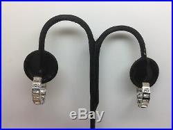 Sterling Silver & White Baguette Cubic Zirconia Hoop Earrings