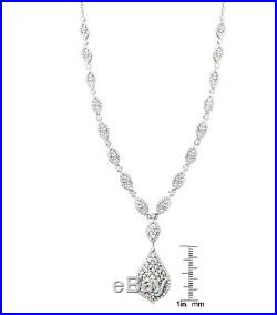 Sterling Silver White Cubic Zirconia Lariat Necklace, 16'' with 2'' Extender
