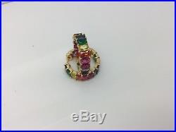Sterling Silver/gold Plated Rainbow Baguette Cubic Zirconia Hoop Earrings
