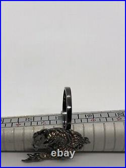 Sterling silver 925 Dragon Two-fingers Ring Cubic Zirconia