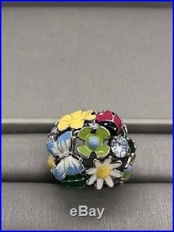 Sterling silver 925 Ring Enemal Flower Butterfly Cubic Zirconia