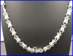 Strong 925 Sterling Silver Cubic Zircon 35 Long Cross Link Chain 1912