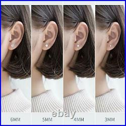 Stud Earrings Set For Women 4 Pair Sterling Silver Cubic Zirconia Hypoallergenic
