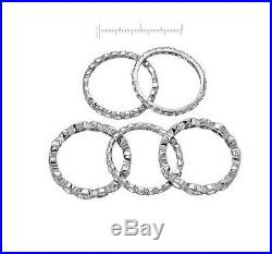 Stunning 9.25 S. Silver Stackable Cubic Zirconia 5 Ring Set Val $520.00 8