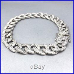Stunning 925 Sterling Silver Cubic Zircon Cuban Link Unisex Bracelet 1955