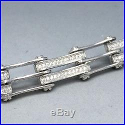 Stunning 925 Sterling Silver Cubic Zircon Stone Set Men's Gate Bracelet 1916