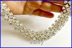 Stunning 925 Sterling Silver Qvc Diamonique Cubic Zirconia Necklace 18.5 Lot10