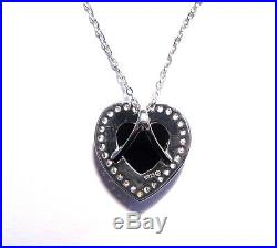 Stunning Australian Opal, Cubic Zirconia and Sterling Silver Heart Pendant 3240