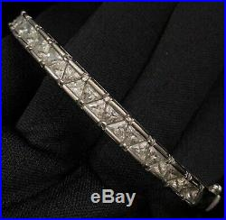 Stunning Estate Sterling Silver & Cubic Zirconia Hinged Bangle Bracelet 8 1/8