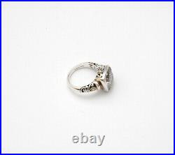 Stunning John Hardy 925 Sterling/14k Gold Faceted CZ Cubic Zirconia Ring Size 7