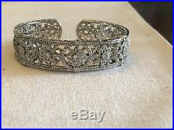 Stunning Judith Ripka 925 Sterling Silver Cubic Zirconia Cuff Bracelet With Pouch