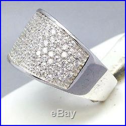 Stunning Micro-pave 925 Sterling Silver Cubic Zircon Dress Ring Size Q 355
