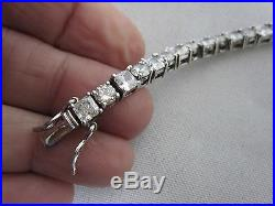 Stunning Round & Square Cz Cubic Circonia 8 Sterling Silver Tennis Bracelet