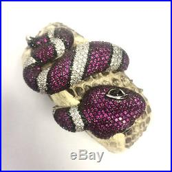 Stunning Solid 925 Silver And Cubic Zircon Micro Pave Cobra Snakeskin Bracelet