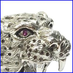 Stunning Solid 925 Silver Cubic Zircon Massive Lions Head Ring Size R
