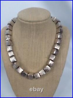 Stunning Sterling Silver 925 Square Cubic Beads necklace