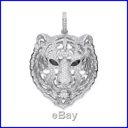 Stunning Sterling Silver Cubic Zirconia Black Eyes Tiger Head Pendant Gift Boxed