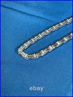 Stylish Cage 925 Sterling Silver Chain Mens With Cubics Blingy Hiphop Icey