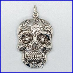 Sugar Candy Skull 925 Sterling Silver Cubic Z pendant Muertos Day of the dead