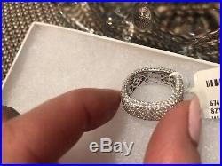 Suzy Levian 925 Sterling Silver With Cubic Zirconia Square Band Ring NWT Size 7