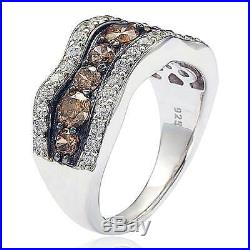 Suzy Levian Brown and White Cubic Zirconia Sterling Silver Wavy Ring