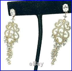 Suzy Levian Earrings Rose Gold Tone Sterling Silver Pave Cubic Zirconia Floral
