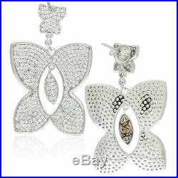 Suzy Levian Pave Cubic Zirconia Sterling Silver Butterfly Dangle Drop Earrings