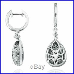 Suzy Levian Pave Cubic Zirconia Sterling Silver Floral Ball Drop Earrings