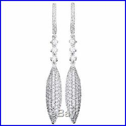 Suzy Levian Pave Cubic Zirconia Sterling Silver Pave Dangle Drop Earrings