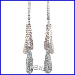 Suzy Levian Pave Cubic Zirconia Tri Tone Sterling Silver Dangle Earrings