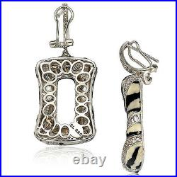 Suzy Levian Pave Sterling Silver Cubic Zirconia Animal Print Dangling Earrings
