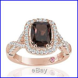 Suzy Levian Rose Sterling Silver Brown Chocolate and White Cubic Zirconia Engage