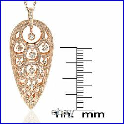 Suzy Levian Rose Sterling Silver Cubic Zirconia Chandelier Pendant Necklace