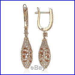 Suzy Levian Rose Sterling Silver Cubic Zirconia Dangling Leverback Earrings
