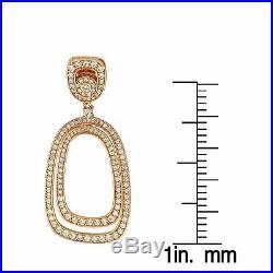 Suzy Levian Rose Sterling Silver White Cubic Zirconia Dangling Earrings