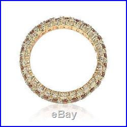 Suzy Levian Rosed Sterling Silver Brown Cubic Zirconia 3 Row Eternity Band