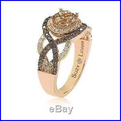 Suzy Levian Rosed Sterling Silver Brown Cubic Zirconia Crossover Bridal Ring