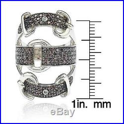 Suzy Levian Sterling Silver Cubic Zirconia Brown and White Buckle Ring