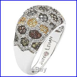 Suzy Levian Sterling Silver Pave Multi Color Cubic Zirconia Honeycomb Band Ring