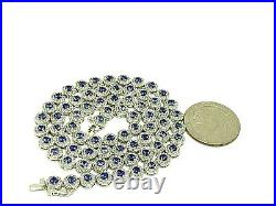 Suzy Levian Sterling Silver Round-Cut Blue & White Cubic Zirconia Necklace 17'