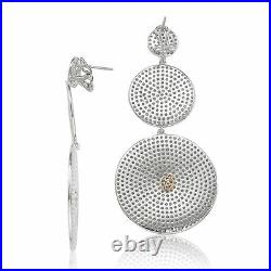 Suzy Levian White Sterling Silver Cubic Zirconia Pave Graduating Earrings