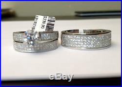 Swarovski Zarconia His Her Men Women Sterling Silver Trio Set Wedding Ring Cubic